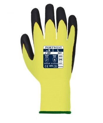 PPG WorkwearPortwest Vis-Tex Cut Level 5 Glove A625 Yellow and Black Colour Back View