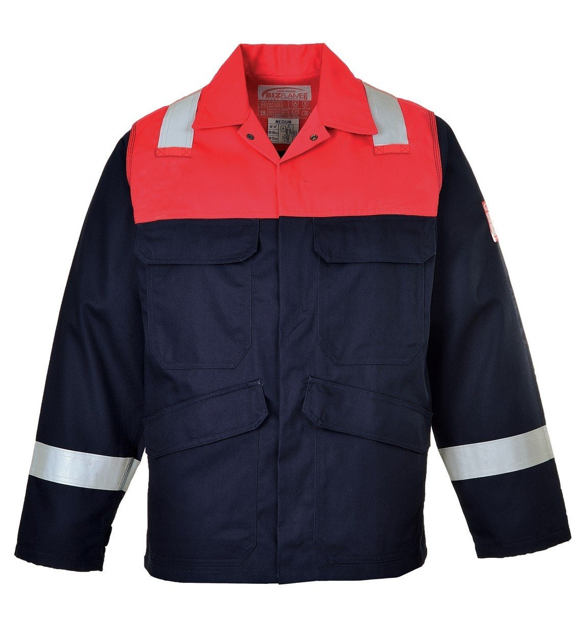 6d4c2fa90736 Portwest Flame Retardant Anti-Static Two-Tone Jacket FR55 Navy Blue and Red  Colour