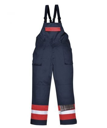 Portwest Flame Retardant Anti-Static Two-Tone Bib/Brace FR57 Navy Blue and Red Colour