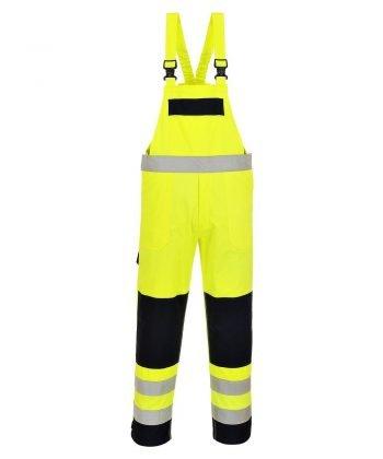 Portwest Hi Vis Multi-Norm F/R Anti-Static Bib/Brace FR63 Yellow and Navy Blue Colour